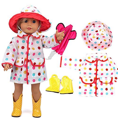 VAMEI 18-Zoll-Puppe Kleidung Regenmantel für American Girl Dolls mit Pink Umbrella, Gelben Stiefeln und Bunten Dot Hat