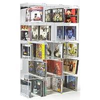 Scaffale modulare per CD in acrilico con pannello posteriore a specchio