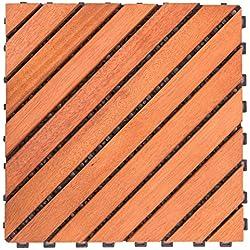 Vifah V182 12 baldosas diagonales de eucalipto, Azulejos entrelazados, Color marrón