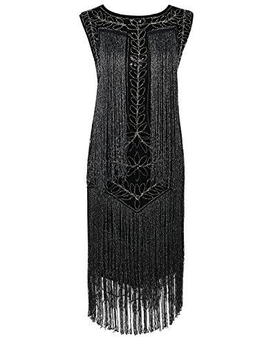 PrettyGuide Damen 1920er Vintage Paillette Alle Fransen Inspired Flapper Kleider M Schwarz Silber