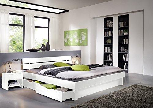 SAM® Massiv-Holzbett Columbia mit Bettkästen, in Buche weiß, Bett mit geteiltem Kopfteil, natürliche Maserung, massive widerstandsfähige Oberfläche in edlem Weißton, 200 x 200 cm