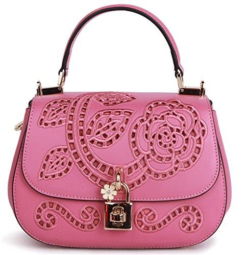 Xinmaoyuan Borse donna in pelle Borsette di ricamo di vacchetta Mini borsa retrò borsette da ricamo,grigio Rosa