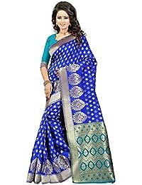 J B Fashion Women's Silk Blue-green Saree With Blouse Piece
