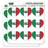 "Italia Italie Drapeau italien en forme de cœur Planner Calendrier Scrapbook Craft Stickers 18 2"" Stickers claire"