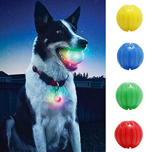 Gracorgzjs Dog Play Chewing Glow in Dark Ball Light Luminous Interactive Toy Pet-Blue M (Glow In The Dark Dog Toy)
