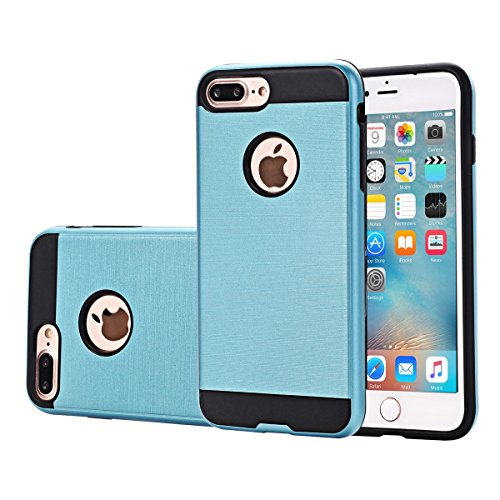 "MOONCASE iPhone 7 Plus Coque, Dual Layer Hybrid Brushed Armure Defender Housse Slim Fit Durable Anti-choc Protection Étuis Case pour iPhone 7 Plus 5.5"" Bleu Ciel Bleu"