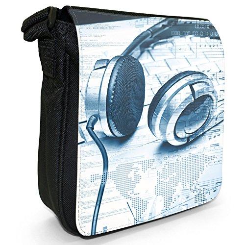 Liebe Musik mit Kopfhörern & Noten Kleine Schultertasche aus schwarzem Canvas Digitale Welt Kopfhörer