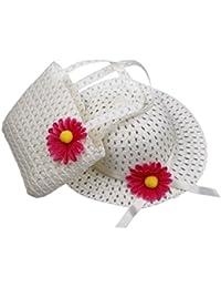 EOZY 1 Lot de Chapeau de Soleil Chapeau de Paille avec une Grande Fleur Sac à Main assorti en Paille pour Bébé Enfant Fille (#1 Beige)