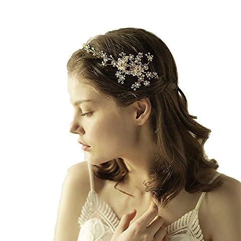Déesse Doré Fleur Diadème–Couronne de mariage Bandeau avec ruban