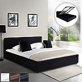 MIADOMODO Kunstlederbett (180 x 200 cm)   mit integriertem Lattenrost und Bettkasten   Polsterbett, Doppelbett, Bettgestell, Bettrahmen   in Schwarz   in Schwarz