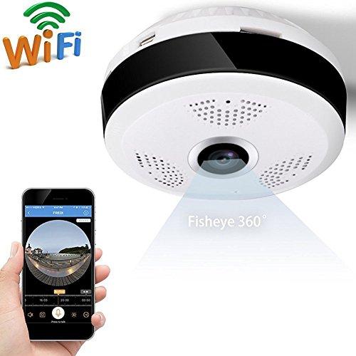 Ydq Überwachungskamera 360 ° Fisheye Kein Toter Winkel Panorama-Kamera Drahtlose Stimme Intercom Webcam Wifi Handy-Fernbedienung HD Nachtsicht-Überwachungskamera