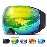 COPOZZ Ski Goggles, G2 Skiing Goggles For Snowboard Jet Snow - For Women Men Ladies Youth Teen - Magnetic Interchangeable Lens - OTG Over Glasses Anti Fog Helmet Compatible Sunglasses - Black Gold