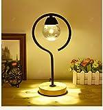 Madera maciza + hierro cálido dormitorio mesita de noche lámpara de mesa de la boda (regalo) ( Color : 2 )