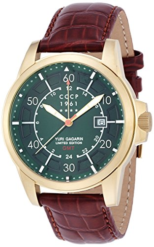 CCCP CP-7003-01 Green Dial with Brown Leather Strap Men's Analogue Watch with Date Window