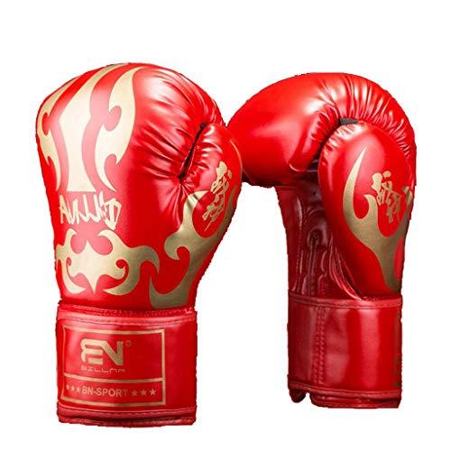 Mysida Erwachsene Boxhandschuhe Sanda Kickboxing Sandsackhandschuhe Wettkampftraining Kampfhandschuhe (Farbe : Red gold, größe : 12oz)