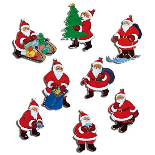 Kühlschrankmagnete Weihnachten Magnete für Magnettafel Kinder stark 8er Set Weihnachtsmann lustig mit Motiv Weihnachtsmänner Rot -