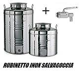 Megashopitalia Contenitore Bidone Fusto per Olio in Acciaio Inox 15 30 50 Litri Made in Italy con Guarnizione per il Tappo e Rubinetto in Acciaio Inox Salvagoccia INCLUSO (15 Litri)