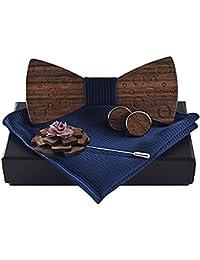 Klassische handgemachte Männer hölzerne Fliege + 1 Paar Manschettenknöpfe Schnalle + Taschentuch + Blume hölzerne Brosche Set dunkelblau