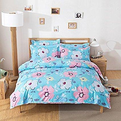 4Floral Bettwäsche Sets Made mit hautfreundlichen Material (kein Tröster involviert), baumwolle, Flower, Blue, Twin(58