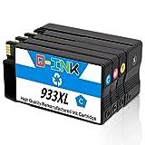 QINK 4PK Aktualisierter Chip für HP 932XL 933XL Wiederaufbereitete Tintenpatrone Zeigen Sie Einen Genauen Tintenfüllstand CN053AE CN054AE CN055AE CN056AE für HP Officejet 6100 6600 6700 7110 7610