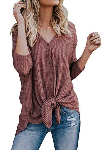 Yidarton Damen Strickjacke Casual Langarmshit Asymmetrisch V-Ausschnitt Cardigan Sexy Pullover Oberteil Sweater Top Outwear (Rot, XXL)