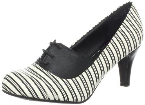 T.U.K. Shoes Damen Pumps Gestreift Spitze bis Herzdetail Ferse a8326l, Grau - Grau - Größe: 42 2/3
