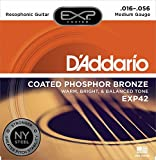 D'Addario EXP42 mit NY Steel Phosphor Bronze Akustikgitarre Saiten, Coated, Medium, 16 - 56