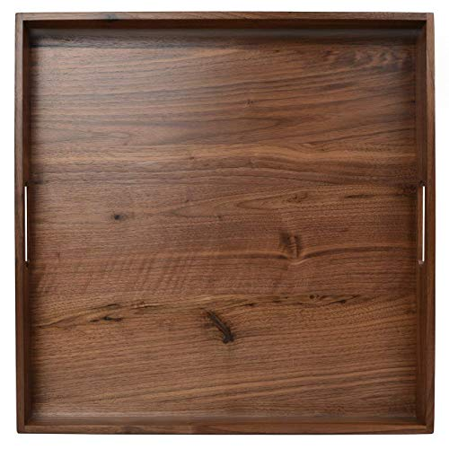 Large Rectangle (19 * 19 * 2inch) Walnut Wood Tea Trays Decorative Square Serving Tray Cutting and Chopping Board