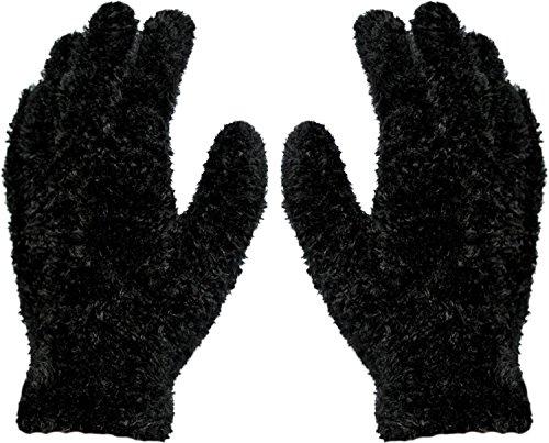 2 Paar Kuschel - Plüsch - Handschuhe Magic Gloves Farbe Schwarz (Damen Magic Gloves)