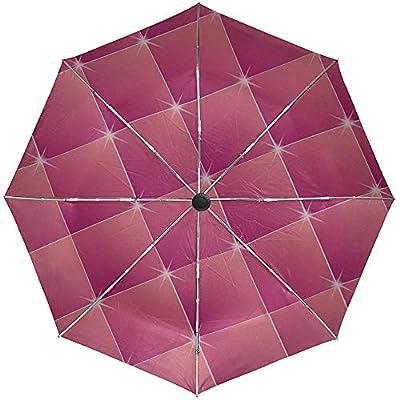 Paraguas automático Cuadrados Rombos Rosa Brillo Viaje Conveniente A Prueba de Viento Impermeable Plegable Automático Abrir Cerrar