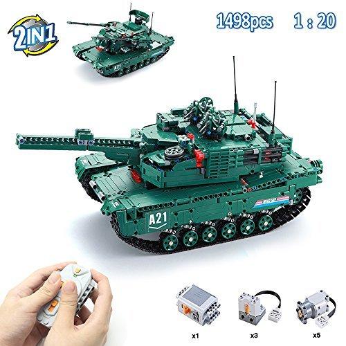 Hosim 1498pcs 2 in 1 RC Tank Bausteine Bau Spielzeug Set, 1: 20 Maßstab 2.4Ghz Multi-Fonction Military Inconsistency Tank Kreative DIY Kits (Kompatibel mit Lego)