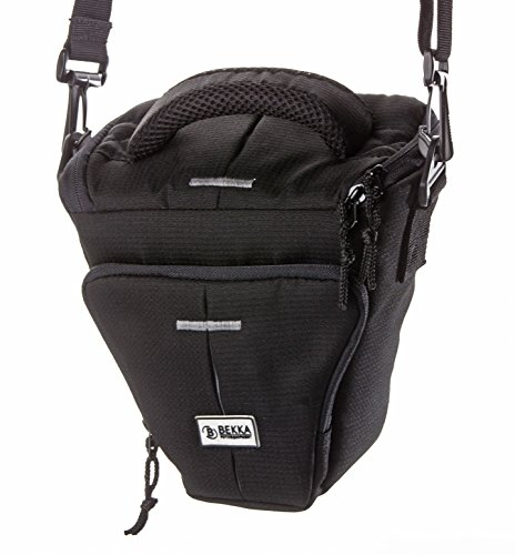 BEKKA PRO Colt SLR Kameratasche (Universal Fototasche geeignet für DSLR- und große Systemkameras inkl. Gürtelschlaufe, Staub- und Spritzwasserschutz, Tragegurt und Tragegriff, Inneneinteilung und Zubehörfach) schwarz