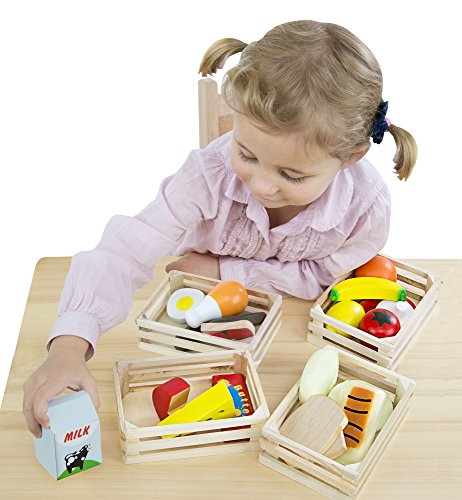 Image of Melissa & Doug Food Groups - 21 Hand-Painted Wooden Pieces and 4 Crates
