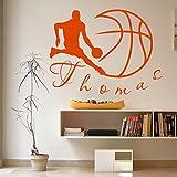 Personalizado Nombre Deporte jugador de baloncesto juego de pelota equipo Boy para la habitación del bebé gimnasio vinilo adhesivo decoración del hogar
