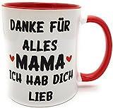 Kilala Tasse Muttertag Herz Kaffeetasse Geschenk Danke Sagen Geburtstag Henkeltasse Lieblingstasse inkl. Geschenkverpackung