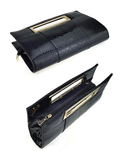 hoxis Classic coccodrillo Pattern Cut Out frizione sacchetti per donne con tracolla, Burgundy (rosso) - UX-BG-1679 Black