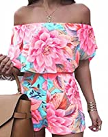 Generic Women's Casual 2 Piece Outfits Playsuit Strapless Ruffle Crop Top Shorts XS 1