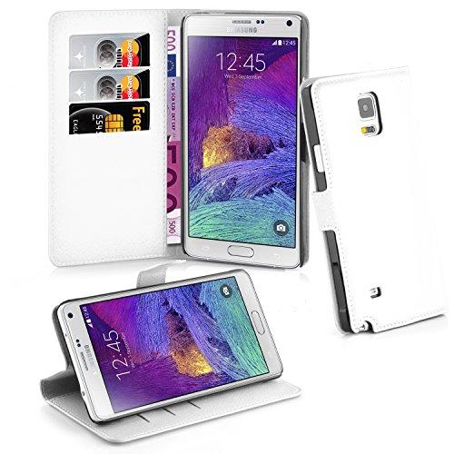 Cadorabo Hülle kompatibel mit Samsung Galaxy Note 4 Hülle in ARKTIS WEIß Handyhülle mit Kartenfach und Standfunktion Schutzhülle Etui Tasche