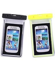 Moolecole bolsa impermeable para teléfonos celulares bolsa universal para teléfonos inteligentes para iPhone 6 7 más Samsung Galaxy S7, S6 Nota 5 4, HTC LG Sony Nokia hasta 6.0-2 Pack Negro + Amarillo