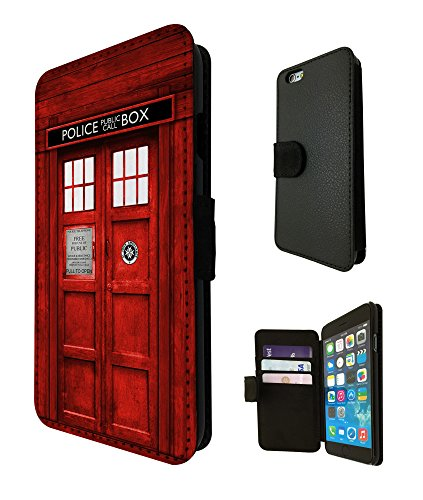 "Doctor who tardis 827-call box design rouge/6S iphone 6 4.7 ""fashion trend coque webkaufhaus24 étui de protection à rabat en cuir format portefeuille porte-carte pour carte de crédit"