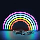 XIYUNTE Arcobaleno Neon Signs Luci notturne - Colore LED Arcobaleno modellazione appendere lampada da parete Illuminazione per interni, Insegne luminose Neon Ins Desktop ornamenti notte Mood Lights, luce camera da letto (Batteria & USB Operated)