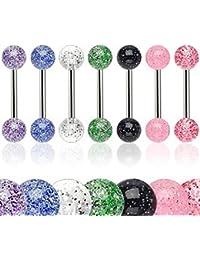 Lot 7 Piercings Langue Paillettes Glitter Transparent MAEL