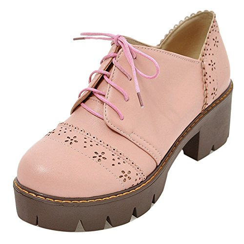COOLCEPT Femmes Confort Chunky Escarpins Lacets pink