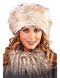 WOMENS LADIES FAUX FUR RUSSIAN USHANKA COSSACK HAT WINTER WARM GIRLS LADIES BEIGE GREY ONE SIZE