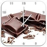 barretta di cioccolato Delicious, muro di diametro 48 centimetri orologio con il bianco ha le mani e il viso, oggetti di decorazione, Designuhr, composito di alluminio molto bello per il soggiorno, studio