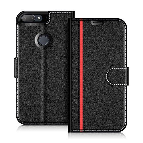 COODIO HTC Desire 12+ Hülle Leder Lederhülle Ledertasche Wallet Handyhülle Tasche Schutzhülle mit Magnetverschluss/Kartenfächer für HTC Desire 12+, Schwarz/Rot
