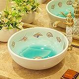 ZI LING SHOP- Kunst über Zähler Becken Runde Keramik Waschbecken Haushalt Badezimmer Zähler Becken (41x17 cm) bathtub ( Farbe : Weiß )