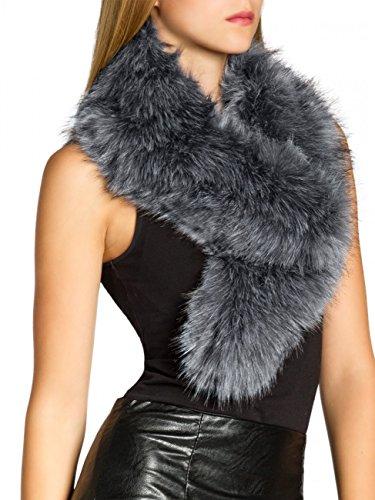 fake fur schal CASPAR STO001 Damen Kunst Pelzkragen, Farbe:grau;Größe:One Size
