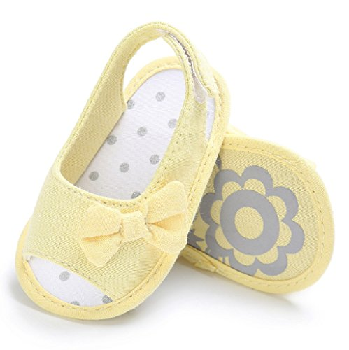Chaussures de bébé Auxma Baby Girls Summer Princess First Chaussures de marche Bow Shoes Sandals (6-12 M, Jaune) Jaune
