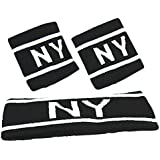Outgeek Sports Headband Athletic Sweatband Elastic Sweat Absorbent Knitted Headband with 2Pcs Wristbands for Workout Fitness